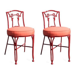 Pair of Asian Style Outdoor Chairs - These outdoor chairs would be right at home in a bathroom or vanity (or, yes, outdoors too). The color is fantastic, especially for a teen girl's space.