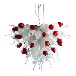 Viz Glass, Inc. - Valentine Chandelier - Create a simple, but dramatic look in your dining room using the large Valentine Chandelier. This innovative piece is handblown from Italian Glass and features all white spiral pieces interspersed with red tulip shapes. Variations may occur in individual pieces. Maximum height is 125 inches. Includes six 5 watt LED G9 bulbs. UL listed. Hardwire; professional installation recommended.