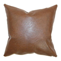 """The Pillow Collection - Airlie Faux Leather Pillow Brown - Make this classy throw pillow the accent piece for your bed, sofa or chair. This faux leather accent pillow is the perfect accessory which brings color and sophistication to your home. This decor pillow suits most of your styling needs with its minimalist design. This square pillow is made from 100% faux leather fabric. This 18"""" pillow is great for home and office use. Hidden zipper closure for easy cover removal.  Knife edge finish on all four sides.  Reversible pillow with the same fabric on the back side.  Spot cleaning suggested."""