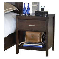 "Modus Furniture - Modus Urban Loft One Drawer Nightstand in Espresso - Modus Furniture - Nightstands - 2O2681 - The Urban Loft collection is designed to bring comfort, style and function to metropolitan bedroom settings. Case goods are scaled to fit comfortably in urban spaces and, at 55"" high, the bed stands out without overpowering the overall room decor. Solid wood drawers are constructed with English dovetail joinery and use full extension ball bearing glides for smooth, easy operation. The media chest accommodates televisions up to 55 inches while the luxurious padded leatherette headboard creates a perfect setting to relax and enjoy a movie. The Urban Loft collection is built to last with metal-to-metal bed rail fittings, center leg supports, Tropical Mahogany solid wood, Eastern Ash wood veneer and a multi-step American-style finish."