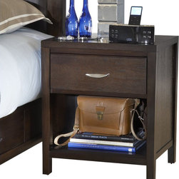 "Modus Furniture - Modus Urban Loft One Drawer Nightstand in Espresso - Modus Furniture - Nightstands - 2O2681 - The Urban Loft collection is designed to bring comfort style and function to metropolitan bedroom settings. Case goods are scaled to fit comfortably in urban spaces and at 55"""" high the bed stands out without overpowering the overall room decor. Solid wood drawers are constructed with English dovetail joinery and use full extension ball bearing glides for smooth easy operation. The media chest accommodates televisions up to 55 inches while the luxurious padded leatherette headboard creates a perfect setting to relax and enjoy a movie. The Urban Loft collection is built to last with metal-to-metal bed rail fittings center leg supports Tropical Mahogany solid wood Eastern Ash wood veneer and a multi-step American-style finish.Features:"
