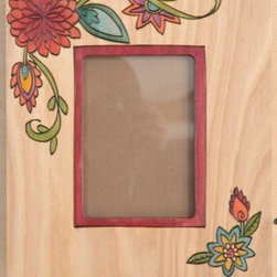 Sarah Grant / Sticks Furniture - Sticks 4x6 Picture Frame ~ Designed Fall 2013 - This beautifully hand carved and hand painted frame is made in Iowa by a collection of artists for the Sticks Furniture company. The unique grain of the light wood is enhanced with bold and lively colored blooms in shades of aqua, orange, ruby, yellow and green.