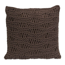 Cioccolato Knitted Waves Pillow - Inspired by the most delectable chocolate, the Cioccolato Knitted Waves Pillow has a rich hue that looks good enough to eat. Its warmly neutral color and delicate openwork texture make it a match for most contemporary, modern, and eclectic design styles.