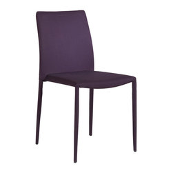 Eurostyle - Eurostyle Chessa-LB Low Back Side Chair in Purple Fabric [Set of 4] - Low Back Side Chair in Purple Fabric belongs to Chessa Collection by Eurostyle Fully upholstered seat back and legs. Powder-coated steel frame. Fully assembled. Seat height 19 Durable woven fabric. Stackable for easy storage. Available in 3 colors. No assembly required. Height: 33.7. Width: 21.7. Side Chair (4)