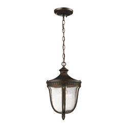 Elk Lighting - Elk Lighting 27002/1 1- Light Outdoor Pendant in Weathered Rust - 1- Light Outdoor Pendant in Weathered Rust belongs to Worthington Collection by Welcome Guests With The Charm Of A Classic Lantern. Constructed Of Solid Cast Aluminum, This Collection Has Reeded Detailing, Clear Seedy Glass, And A Weathered Rust Finish. Pendant (1)