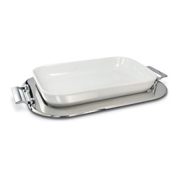 Cuisinox - Cuisinox 15 x 10in. Porcelain Baker Set - A pure white oven proof porcelain baker set into a mirror polished Cuisinox stainless steel tray will certainly compliment any dinner table. Impress your guests with your evenly baked lasagna, risotto or any casserole directly from the oven to the table. The tray may also be used separately. The porcelain baker is dishwasher, freezer, and oven proof.
