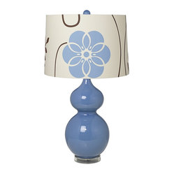 Contemporary Blue Floral Shade Double Gourd Slate Blue Ceramic Table Lamp