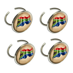 Made on Terra - Vintage South African Flag - South Africa Napkin Ring Set - The table is set and you're proud as a peacock as you admire the scene. Not only did you pull grandmother's china out of retirement, but you even bought new napkin rings for the occasion. The napkin rings are so cute that you just might have to use them everyday, not just for special occasions. Ring hole and design each measure 1 in diameter. Made of metal with an epoxy top-coat. Set of 4.