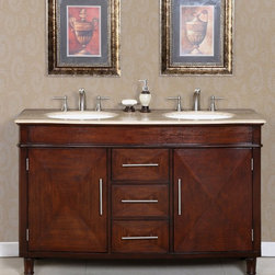 Silkroad Exclusive - Cambridge 55 in. Double Sink Bathroom Vanity - Faucets not included. Transitional style. Pre-drilled for three-hole, 8-in. widespread faucets. Three drawers and two door storage with shelves. Undermount UPC certified white ceramic sinks. Roman vein-cut travertine stone counter top. Brushed nickel hardware finish. Big cutout back for plumbing installation. 30 days manufacturer limited warranty. Made from wood, CARB Ph2 certified plywood and MDF panels. Distressed dark chestnut finish. No assembly required. Center to Center: 35 in.. Overall: 55 in. W x 21 in. D x 36 in. H (228 lbs.)Elegant double sink vanity with classic design pattern. Large cabinet space good for all your storage need. Completely transform an ordinary bathroom into a gorgeous pleasure with this travertine top sink vanity.