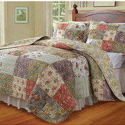 None - Blooming Prairie Full/ Queen-size 3-Piece Quilt Set - This queen-size quilt set by Blooming Prairie brings freshness and style to any bedroom. Featuring a quilt and two shams, this set has floral panels in subtle garden-inspired hues, making it a great option to update your bedroom decor with.