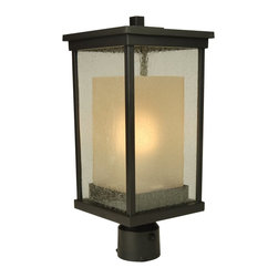 Exteriors - Exteriors Riviera Energy Star Outdoor Post Lantern Light X-GRN-29-5273Z - Free of unnecessary frills and ornamentation, this Craftmade outdoor post lantern light is ideal for those who want a touch of traditional without all the fuss. From the Riviera Collection, this energy star rated post light features a clean rectangular body with clear seeded outer glass window panes and a secondary frosted amber glass in a coordinating shape. For added appeal, it comes finished in an Oiled Bronze hue.