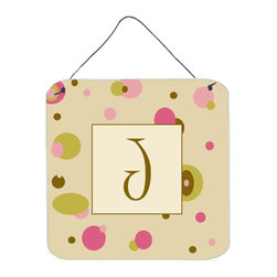 Caroline's Treasures - Letter J Initial Monogram - Tan Dots Aluminium Metal Wall Or Door Print - Great for inside or outside these Aluminum prints will add a special touch to your kitchen, bath, front door, outdoor patio or any special place.  6 inches by 6 inches and full of color.  This item will take direct sun for a while before it starts to fade.  Rust and Fade resistant.  Aluminum Print with Hanging Rope.  Rounded Corners.