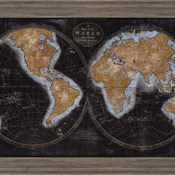 Paragon Decor - The World in Gold Artwork - A blackened world map highlights the continents in gold.