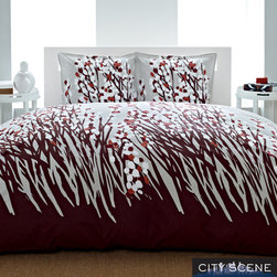 City Scene - City Scene Spring Arbor 3-piece Duvet Cover Set - With perky flowers and a palette of brown and burgundy, this colorful contemporary duvet cover offers an affordable way to update your bedroom decor. The beautiful duvet has a simple button closure for easy installation of your comforter.