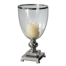 Uttermost - Uttermost Lino Clear Glass Candleholder - Nickel Plate with Clear Glass Globe and Distressed Beige Candle.