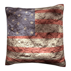 Custom Photo Factory - Abstract American Flag Pillow.  Polyester Velour Throw Pillow - Abstract American Flag Pillow. 18 Inches x 18  Inches.  Made in Los Angeles, CA, Set includes: One (1) pillow. Pattern: Full color dye sublimation art print. Cover closure: Concealed zipper. Cover materials: 100-percent polyester velour. Fill materials: Non-allergenic 100-percent polyester. Pillow shape: Square. Dimensions: 18.45 inches wide x 18.45 inches long. Care instructions: Machine washable