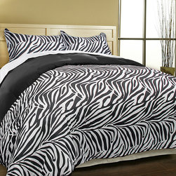 None - Luxury Zebra Microfiber 3-piece Duvet Cover Set - Upgrade your bedroom decor with this luxurious animal prints duvet cover set. This bedding set features zebra reverse black color on a soft microfiber fabric.