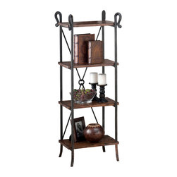 Jofran - Jofran 772-8 Rutledge Etagere w/ 4 Wooden Shelves in Distressed Rustic Pine - Crafted from solid pine and tubular steel, this sturdy set is sure to last through the years. Equipped with plenty shelf space this set allow you plenty of space for displaying bowls or trinkets with room on the table top for a vase or framed picture. With the distressed pine look this collection will always be the topic of conversation among your guests.