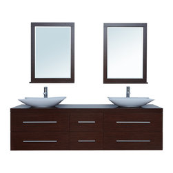 """Stufurhome - 72"""" Calliope Double Sink Vanity - A beautifully contemporary take on bathroom furniture, the 72"""" Calliope Double Sink Vanity lends exquisite style to a larger-sized master bath. The inviting, deep-toned iron wood finish is set off by the trendy bowl basins, and included dual mirrors pull everything together into a stunning package. Six soft-closing drawers conceal generous space for all your bathroom accoutrements. Dimensions: 72 in. x 22 in."""