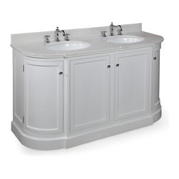 Kitchen Bath Collection - Montage 60-in Double Sink Bath Vanity (White/White) - This bathroom vanity set by Kitchen Bath Collection includes a white cabinet with white marble countertop, double undermount ceramic sinks, pop-up drains, and P-traps. Order now and we will include the pictured three-hole faucets and a matching backsplash as a free gift! All vanities come fully assembled by the manufacturer, with countertop & sink pre-installed.