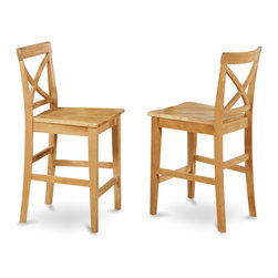 """East West Furniture - X in Back Stool with Wood Counter Seat in Oak Finish - Set of 2 - X-Back stool with wood counter seat in Oak finish; The Pub Set has contemporary styling to complement any decor.; This dinette is ideal for a small kitchen or dining area.; It has durable construction with Asian solid wood, available in two lovely finishes -- oak or rich brown.; The counter-height stools feature attractive X-backs with a choice of wood seats or neutral-colored, upholstered seats.; Weight: 38 lbs; Dimensions: 18""""L x 17""""W x 41.5""""H"""