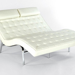 Button Tufted Leather Chaise - Steel Frame, Buttons, Upholstery