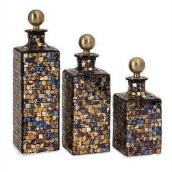 "Imax Worldwide Home - Moulin Mosaic Bottles - Set of 3 - This set of three multi-tonal squared mosaic glass bottles feature brass stoppers and add a shimmer to any tabletop.; Country of Origin: India; Weight: 7.85 lbs; Dimensions: 8.5-10.25-12.25""h x 3.5""w x 3.5""d"