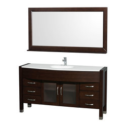 "Wyndham Collection - Daytona 60"" Single Vanity Set w/ White Man-Made Stone Top & White Integral Sinks - The Daytona 60"" Single Bathroom Vanity Set - a modern classic with elegant, contemporary lines. This beautiful centerpiece, made in solid, eco-friendly zero emissions wood, comes complete with mirror and choice of counter for any decor. From fully extending drawer glides and soft-close doors to the 3/4"" glass or marble counter, quality comes first, like all Wyndham Collection products. Doors are made with fully framed glass inserts, and back paneling is standard. Available in gorgeous contemporary Cherry or rich, warm Espresso (a true Espresso that's not almost black to cover inferior wood imperfections). Transform your bathroom into a talking point with this Wyndham Collection original design, only available in limited numbers. All counters are pre-drilled for single-hole faucets, but stone counters may have additional holes drilled on-site."