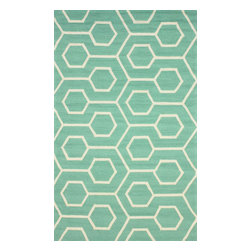 nuLOOM - Outdoor 8'x10' Seafoam Hand Hooked Area Rug Outdoor Trellis - Made from the finest materials in the world and with the uttermost care, our rugs are a great addition to your home.