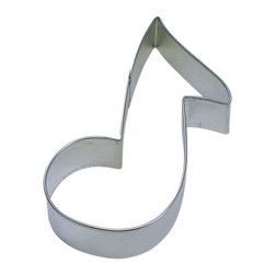 RM - Music Note Cookie Cutter - Music Note cookie cutter, made of sturdy tin, Size 5.5 in., Depth 7/8 in., Color silver