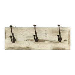 Benzara - Cute and Impressive Wall Hooks with Rustic Nail Knobs - Cute and Impressive Wall Hooks with Rustic Nail Knobs. These Wall hooks feature 3 double ended nail like hooks to create the perfect place to hang your coat, hat, umbrella and more, while constantly reminding you to stop and enjoy the simpler things.