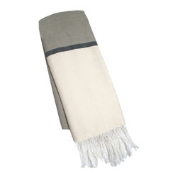 "Abanja - Barek Solid Fouta Gray Towel - The Barek Fouta towel envelops with oversized comfort and classic style. Featuring a bold colorblock motif, the fringed beach accessory's divides gray and beige with a dark gray stripe. 39""W x 73""H; 85% cotton/15% acrylic; Gray, neutral and black"