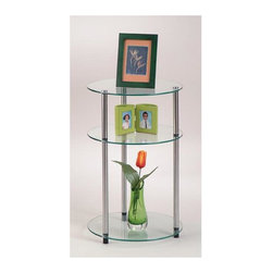 Convenience Concepts - Classic Glass 3 Tier Round Table - 6 mm tempered glass shelves for safety. Chrome plated 22 mm steel post for strength. Strong and safe. Limited warranty. Assembly required. 15 in. Dia. x 24.5 in. H (15 lbs.)