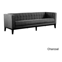 None - Roxbury Tufted Microfiber Sofa - Adopting suave lines and a sophisticated but playful mood, this sofa creates a classically 'mod' aesthetic for your loft, town home or condo. This lovely couch accentuates any decor space