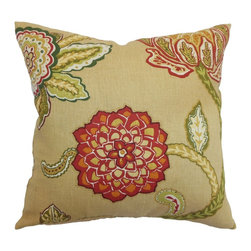"The Pillow Collection - Samarinda Floral Pillow Caramel 18"" x 18"" - This throw pillow combines beautiful blossoms of all sorts. The modern-looking floral print pattern suits the caramel hued background. The decor pillow comes in an array of pretty colors: pink, orange, yellow, white, green and natural. This square pillow adds a pop of color to your living room, bedroom or window seat. Made from 100% linen fabric, this 18"" pillow suits various settings. Hidden zipper closure for easy cover removal.  Knife edge finish on all four sides.  Reversible pillow with the same fabric on the back side.  Spot cleaning suggested."