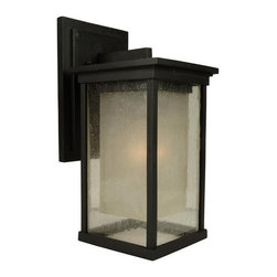 "Craftmade - Craftmade Z3714-92 Oiled Bronze Riviera Riviera 1 Light Outdoor Wall - Craftmade 1 Light Outdoor Wall Sconce from the Riviera Collection Features:  Cast Aluminum Fixture Oiled Bronze Finish (Appearance is Nearly Black) Clear Seeded Outer Glass with Frosted Amber Inner Glass UL Rated for Wet Locations Down Lighting Only (Installation IS NOT Reversible)  Specifications:  Height: 13.75"" Width: 6.25"" Extension from Wall: 7.13"" Backplate Height: 8.75"" Backplate Width: 6"" Number of Bulbs: 1 (not included) Bulb Base: Medium (E26) Bulb Type: Incandescent Weigth: 8.19 lbs."