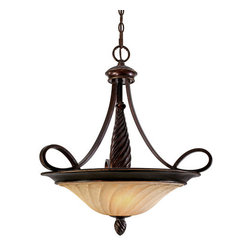 """Golden Lighting - Golden Lighting 8106-3P CDB Cordoban Bronze Torbellino Tuscan Three - Three Light Bowl Pendant from the Torbellino CollectionThe Torbellino Cordoban Bronze Lighting Collection is the newest member of the Golden Family. Swirled finials and columns create a fluid, warm motion while arms with arcing detail elevate the Remolino glass etched with even more swirls. The Cordoban Bronze finish has a rich tone reminiscent of a fine bronze sculpture. Espléndido!Three light down lighting bowl pendantFeaturing Remolino glassRequires 3 100w Medium base bulbs (not included)Supplied with 6  of chain and 10  of wireGlass dimensions: 16"""" diameter, 4"""" heightCanopy dimensions: 6"""" diameter, 1.5"""" extension"""