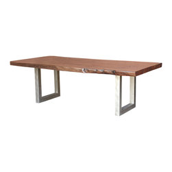 "Four Hands - Montana Metal Leg Dining Table, 94"" - Bring the beauty of nature into your dining room. For this rustic table, a thick, live-edge slab of solid acacia wood lies on a metal base to complement a wide variety of design schemes."