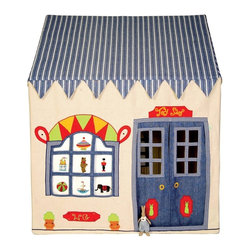 """Wingreen - WinGreen Cotton Playhouse - Toy Shop, Small - We challenge anyone not to be completely captivated by the old-fashioned charm of our beautiful Toy Shop playhouse. appliqued and embroidered with traditional toys including a jack-in-the-box, boat, spinning top and toy soldier. The front curtain can be tied up or rolled down to show its beautiful decoration. Open for business and packed with treats, our Toy Shop is a winner for both boys and girls. 100% cotton. Easy to assemble with a light metal frame. Storage bag included. Size: 43.30"""" long x 29.13"""" wide x 43.30"""" high."""