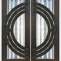 "AAW Inc. - Contemporary Entry Door Model NW-1621 - Model NW-1621 from our New World Collection. Door is solid Mahogany, 2-1/4"" thick with decorative glass and iron work on the outside."
