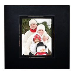 "MyBarnwoodFrames - Black Wood Deep Box Chunky Frame, 8x10 with Lightly Distressed (Sanded) Edges - Solid Wood 8x10 picture frame, black with deep 2.5 inch profile. This chunky deep box frame has a unique contemporary look with slightly distressed edges. If you love ""chunky,"" you're going to love this unique deep box picture frame. Manufactured in the USA, this solid wood photo frame accommodates one 8x10 photograph or print at the front of a deep box frame that stands a full 2-1/4 inches away from the wall surface. The unique profile style creates a prominent display of your favorite picture or print. The photo opening, which is at the front of the 2-1/4 inch deep box, includes glass and sawtooth hanger, with hardware pre-installed so that you can hang the frame either horizontally (landscape) or vertically (portrait). Remove cardboard backing easily by bending up flexible push points in the back of the frame to install your own photograph or print, then replace the cardboard and bend push points back into place."