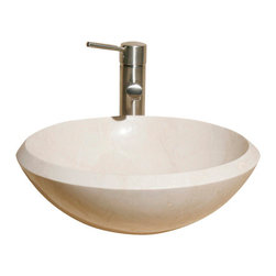 The Allstone Group - V-VR16B Creama Marfil Polished Vessel Sink - Natural stone strikes a balance between beauty and function. Each design is hand-hewn from 100% natural stone.  Vessel sinks can be the most inspiring feature in a bathroom, adding style and beauty to any bath space.  Stone not only is pleasing to the eye but also has the feel of something natural and solid.