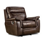 Chelsea Home - Sequoia Rocker Recliner - Lowey tobacco cover. Seating comfort: Medium. Kiln-dried hardwood frame. Stress points are reinforced with blocks to secure long lasting frame. Attached seat and back cushions. 8-gauge flat sinuous springs. 1.8 density, 28 - 30 lbs. PSI cushion compression. Made from 100% polyurethane. Made in USA. No assembly required. 40 in. L x 40 in. W x 39 in. H (125 lbs.)