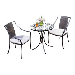 HomeStyles - 3-Pc Outdoor Round Bistro Set - Includes table and two arm chairs. Adjustable and nylon glides prevent damage to surfaces. Provide stability on uneven surfaces. Powder coated steel frame. Designed to stack for easy storage. Table top with natural octagon marble tiles with black square accents. Trimmed in rectangular and square. Black marble tile ring. Cabriole designed base. Two-tone, walnut brown synthetic-weave chair seat and back. Tie-attachment taupe cushions. Synthetic-weave is both moisture, weather resistant and requires very little maintenance. Black and tan color. Made in Vietnam. Seat height: 18 in.. Arm height: 22.75 in.. Chair: 23.25 in. W x 22.25 in. D x 36 in. H. Table: 27.5 in. Dia. x 30 in. H. Warranty. Table Assembly Instructions. Chair Assembly Instructions