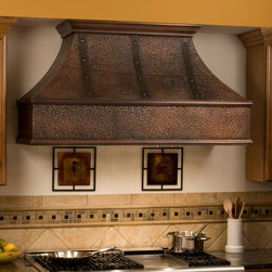 """54"""" Tuscan Series Copper Wall-Mount Range Hood - Riveted Bands - This stunning 54"""" Tuscan Series Copper Range Hood will become a focal point of any gourmet kitchen. This kitchen exhaust fan features a hammered copper design accented with copper straps and rivets."""