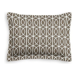 Taupe Modern Trellis Custom Sham - The Simple Sham may be basic, but it won't be boring!  Layer these luxurious reversible shams in various styles for a bed you'll want to fall right into. We love it in this rounded trellis in taupe and white on soft lightweight line. Your gateway to a chic modern look.