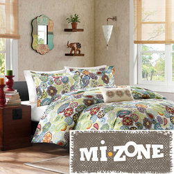 Mi-Zone - Mizone Asha 4-piece Duvet Cover Set - Featuring a floral pattern with medallions mixed in,this four-piece duvet cover set can brighten up any bedroom. This contemporary duvet cover set is made of a soft material for extra comfort,and each piece is machine washable for your convenience.