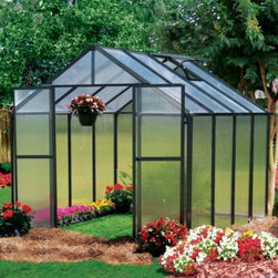 Riverstone Industries Monticello 8 x 8 ft. Premium Greenhouse Kit - Whether you're a hobbyist gardener or a serious grower, the Riverstone Industries Monticello 8 x 8 ft. Premium Greenhouse Kit will help you make the most of your horticultural efforts. This modest-sized greenhouse doesn't take up much room but still allows you to start your plants early and even produce year round. With commercial-grade materials, this greenhouse gives you a safe, sustainable way to extend your growing season.The Monticello Greenhouse by Riverstone Industries uses the highest-quality extruded aluminum available - over 40 lbs. more than an average imported greenhouse of this size. Furthermore, it uses high-impact, UV-stable 8mm twin wall polycarbonate for the walls and roof, whereas most other greenhouses on the market use less expensive materials that they shave down as thin as .2mm. These extra measures of strength pay off by securing your greenhouse and all its precious contents from snow loads up to 24 pounds per square foot and from gusts of wind up to 113 miles per hour, making this far stronger than the average greenhouse. In addition to this obvious ability to hold up under strenuous natural conditions, these high-quality materials also make the greenhouse's growing potential more efficient, stretching the natural season longer and cutting down on electric bills for those looking to grow year round.As if top-quality materials weren't enough, Riverstone Industries has also equipped this premium package with a slew of features to help you make the most of your horticultural efforts. This greenhouse's workbench and sink - the only one found in the industry - will help you plan out your plantings and minimize your work time and effort. Its unique interior shade system will help you prevent sun scorching on more sensitive leaves and flowers, while the automatic roof vents will enable you to keep a good temperature and airflow. This greenhouse even comes equipped with gutters as part of its automatic watering system to help make the most of the elements that nature already provides. Even with all these features and commercial stability, Riverstone has made sure to keep assembly simple so that even an inexperienced builder can put this greenhouse together in less than a day, allowing you to jump right into your planting and production, which is the reason you bought it in the first place.Additional features:Features work bench systemIntegrated flush-base designHigh-impact, UV stable 8 mm twin polycarbonate walls and roofHeavy-duty extruded aluminum frame2 x 2-ft. roof vent with automatic openerIntegrated dual rain water gutter systemPeak height: 90 inchesSidewall height: 58 inchesDoor dimensions: 48W x 68H in.Easy roll sliding entry doors with locking abilityExpandable in 4-ft. increments as needed (extensions sold separately)Efficient - average annual cost for year round operation is $100-$150Snow load capacity: 24lbs./sq. ft.Wind load capacity: 52m/sec. (113 mph gusts)Assembly time of approximately 8 hoursProudly made in the United StatesAbout Riverstone IndustriesRiverstone Industries prides itself on producing high-quality environmentally and economically conscientious products for the masses. They believe that their green product lines will enable everyone to help forge a brighter future for themselves and their world. By creating merchandise that is easy to assemble, backed by confident warranties, and supported by top-notch customer service, they have built and maintained outstanding quality that has resulted in customer satisfaction. Over the years, Riverstone Industries has also made a conscious effort to move its design and manufacturing programs to the United States, helping secure domestic jobs and a stronger economic environment.
