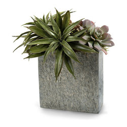 Slate Succulents - Narrow in dimension and timeless in texture, the Slate Succulents botanical arrangement is suitable for a mantelpiece, ledge, or sill, where the tough yet tender overspilling leaves of its faux succulents suggest an ancient interest to the modern eye.  The tile of stone that contains this arrangement is salt-and-pepper grey, raising the sophistication.
