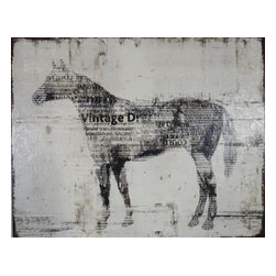 Consigned Large Vintage Horse Painting, Quarter Horse - Quality vintage giclee painting on canvas.